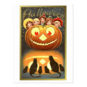 Cats Watching Kids and Pumpkin VIntage Halloween ( Postcard