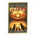 Cats Watching Kids and Pumpkin VIntage Halloween ( Postcard