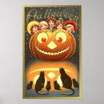 Cats Watching Kids and Pumpkin VIntage Halloween ( Poster