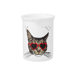 Cats Wearing Sunglasses Drink Pitcher