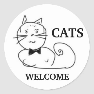 Cats Welcome Classic Round Sticker