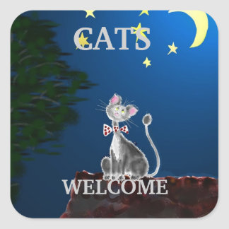 Cats Welcome Square Sticker