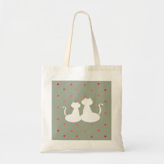 Cats White Love Couple Silhouette Polka Dots Chic Tote Bag