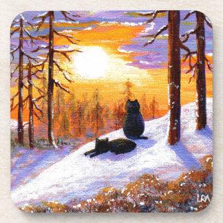 Cats Winter Landscape Sunset Forest Coaster