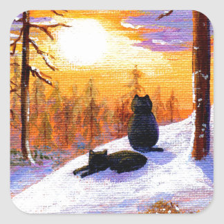 Cats Winter Landscape Sunset Forest Square Sticker