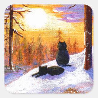 Cats Winter Landscape Sunset Forest Square Sticker