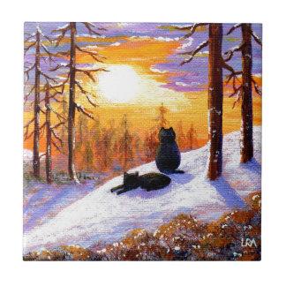 Cats Winter Landscape Sunset Forest Tile