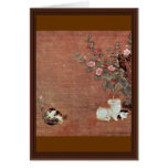 Cats With Boys In A Garden By Mao I (Best Quality) Greeting Card