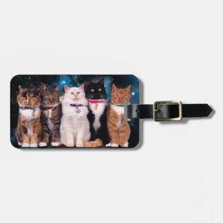 Cats with collars in space luggage tag