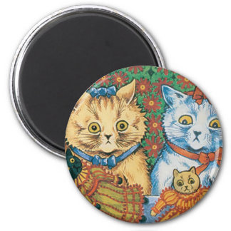 Cats with Dolls Artwork by Louis Wain 2 Inch Round Magnet