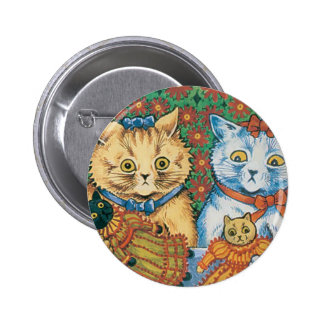 Cats with Dolls Artwork by Louis Wain Buttons