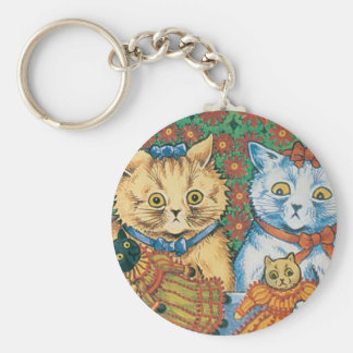 Cats with Dolls Artwork by Louis Wain Basic Round Button Keychain