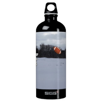 Cats With Hats Play Football In The Snow Aluminum Water Bottle