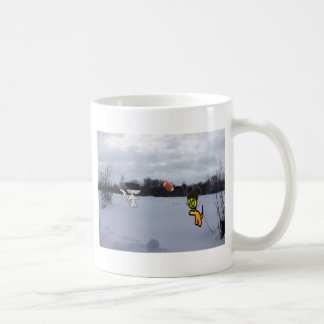 Cats With Hats Play Football In The Snow Coffee Mug