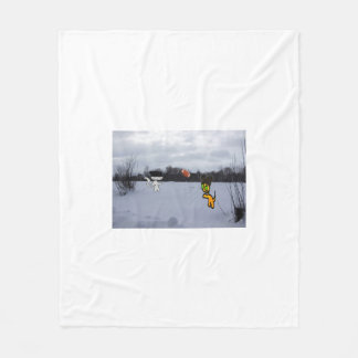 Cats With Hats Play Football In The Snow Fleece Blanket