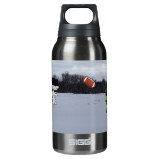 Cats With Hats Play Football In The Snow Insulated Water Bottle