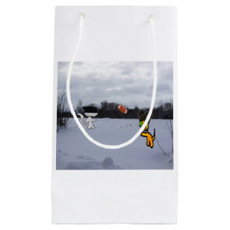 Cats With Hats Play Football In The Snow Small Gift Bag
