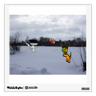 Cats With Hats Play Football In The Snow Wall Decal
