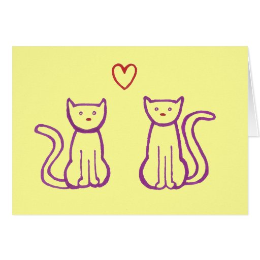 Cats with Heart Card