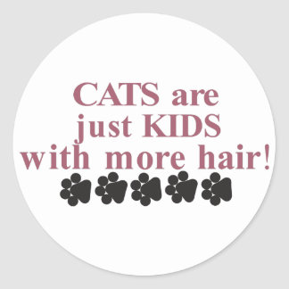 Cats with more Hair Classic Round Sticker