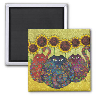 Cats With Sunflowers 2 Inch Square Magnet