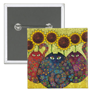 cats with sunflowers pin