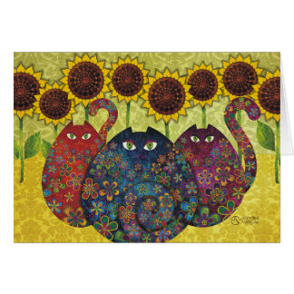 cats with sunflowers greeting card