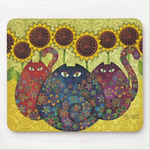 cats with sunflowers mousepad
