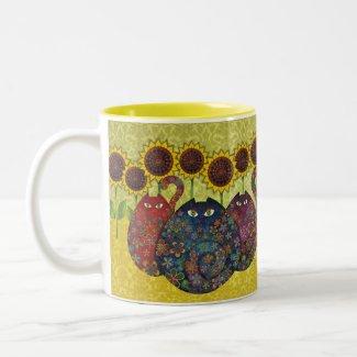 cats with sunflowers mug