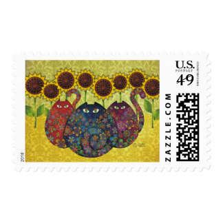 cats with sunflowers postage