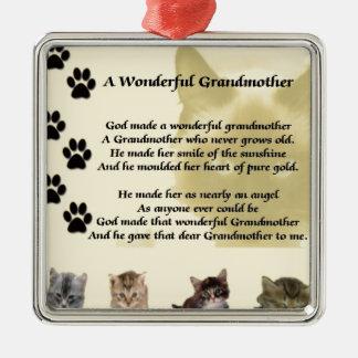 Cats - Wonderful Grandmother Poem Metal Ornament