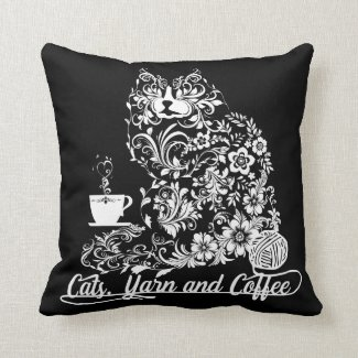 Cats, Yarn and Coffee Ladies Decorative Pillow