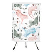 Cats & Yarn Pattern Pastel Watercolors Tripod Lamp