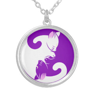 Cats yin yang silver plated necklace