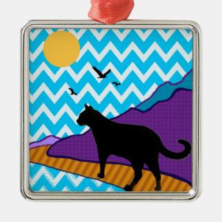 Catscape Square Metal Christmas Ornament