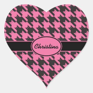 CatsTooth Pattern Heart Sticker