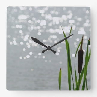 Cattail in Front of Lake Square Wall Clock
