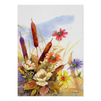cattail Typha  watercolor Print