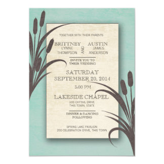 Cattails Aqua Lake Wedding Card