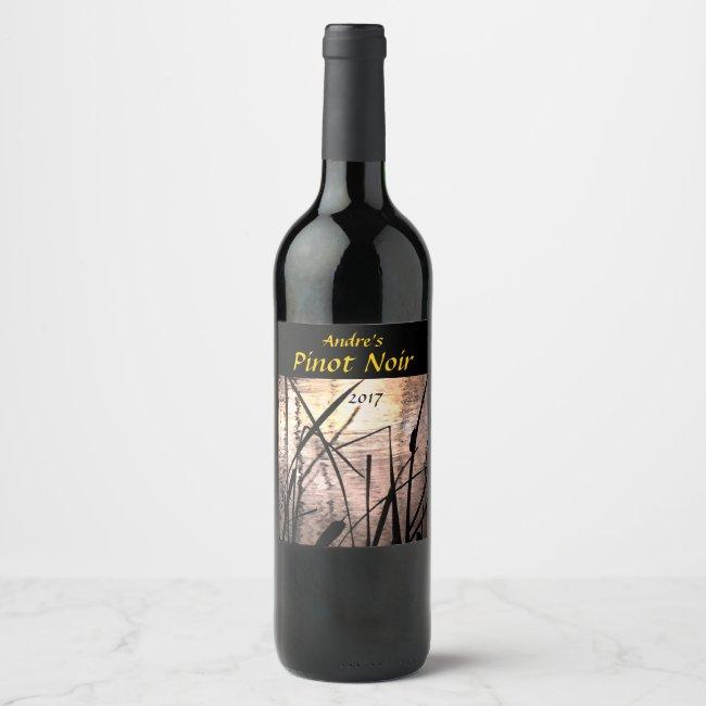 Cattails at Sunset Pond Wine Label