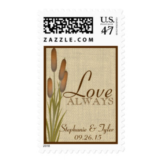 Cattails Burlap Love Postage