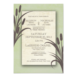 Cattails Green Lake Wedding Card