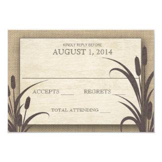 Cattails Rustic Lake Wedding Response Card