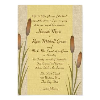 Cattails Yellow Lake Wedding Card