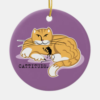 Cattitude and Mouse Double-Sided Ceramic Round Christmas Ornament