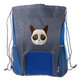Cattitude Cat Cartoon Drawstring Backpack