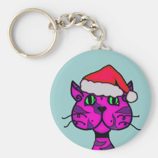 cattitude christmas basic round button keychain