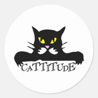 cattitude classic round sticker
