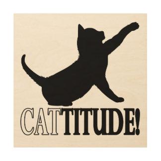Cattitude con el gato en silueta cuadros de madera