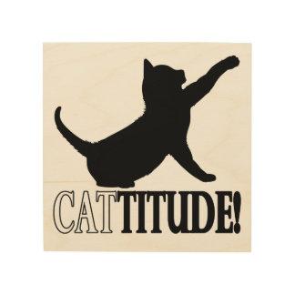 Cattitude con el gato en silueta impresiones en madera
